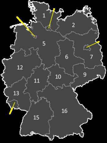 Map Of Germany Quiz.German Quiz German Bundeslander Germanzone Org